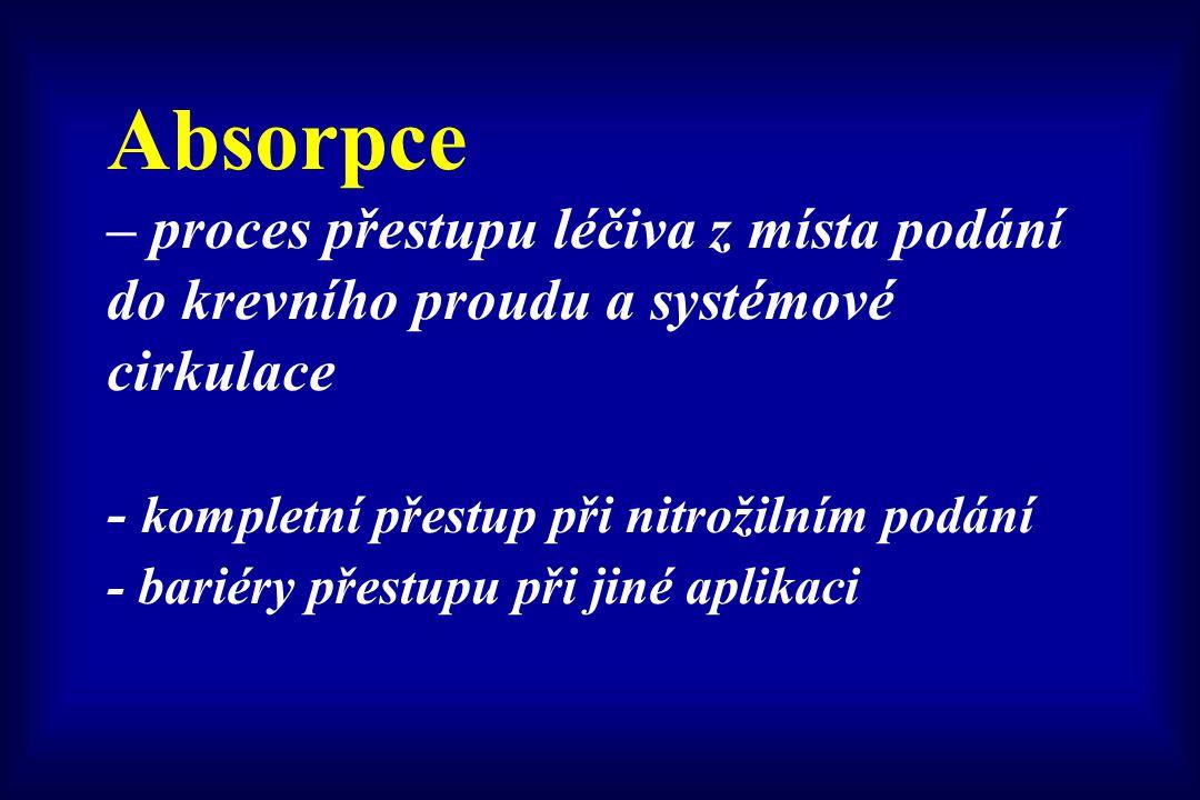 Absorpce – proces přestupu léčiva z místa podání do krevního proudu a systémové cirkulace - kompletní přestup při nitrožilním podání - bariéry přestup