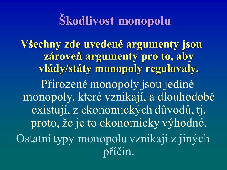 Škodlivost monopolu Všechny zde uvedené argumenty jsou zároveň argumenty pro to, aby vlády/státy monopoly regulovaly.