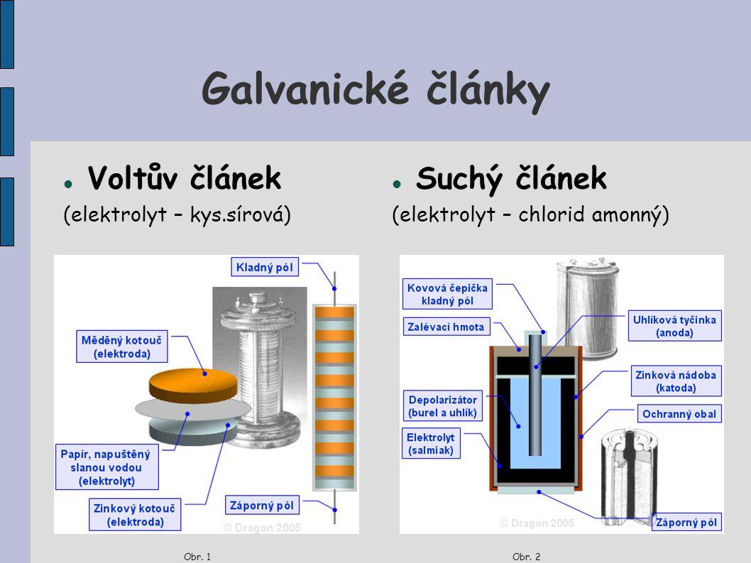 Galvanické články Voltův článek (elektrolyt – kys.sírová) Obr. 1 Suchý článek (elektrolyt – chlorid amonný) Obr. 2