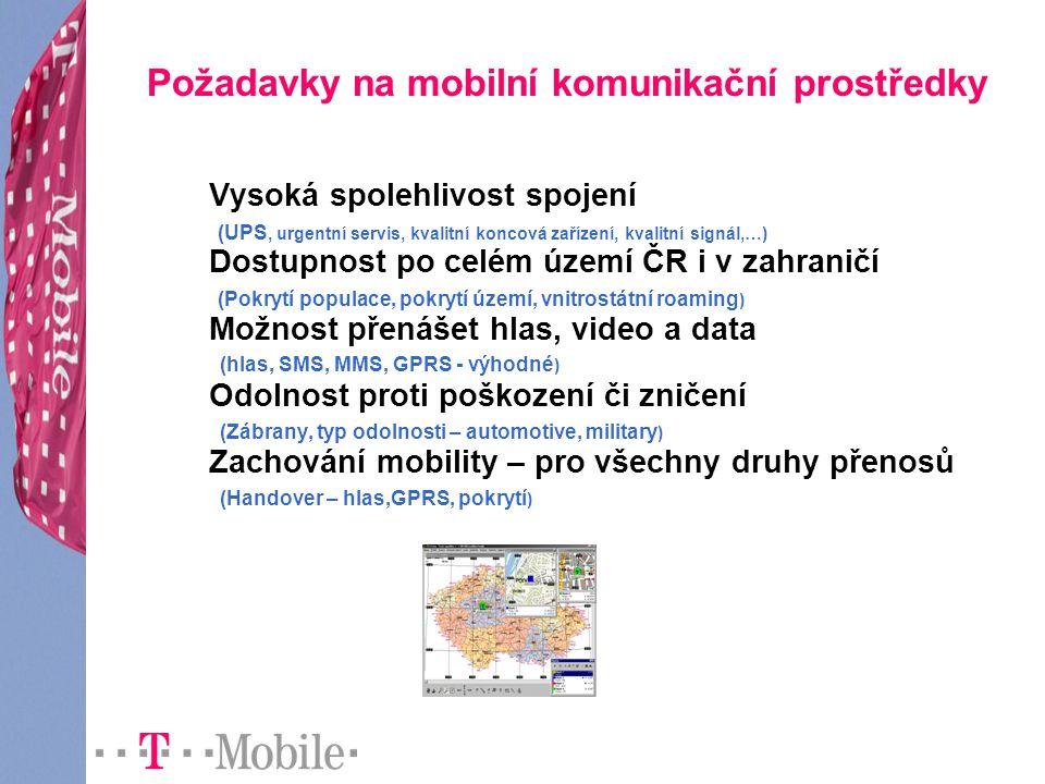 Požadavky na mobilní komunikační prostředky Vysoká spolehlivost spojení (UPS, urgentní servis, kvalitní koncová zařízení, kvalitní signál,…) Dostupnost po celém území ČR i v zahraničí (Pokrytí populace, pokrytí území, vnitrostátní roaming ) Možnost přenášet hlas, video a data (hlas, SMS, MMS, GPRS - výhodné ) Odolnost proti poškození či zničení (Zábrany, typ odolnosti – automotive, military ) Zachování mobility – pro všechny druhy přenosů (Handover – hlas,GPRS, pokrytí )