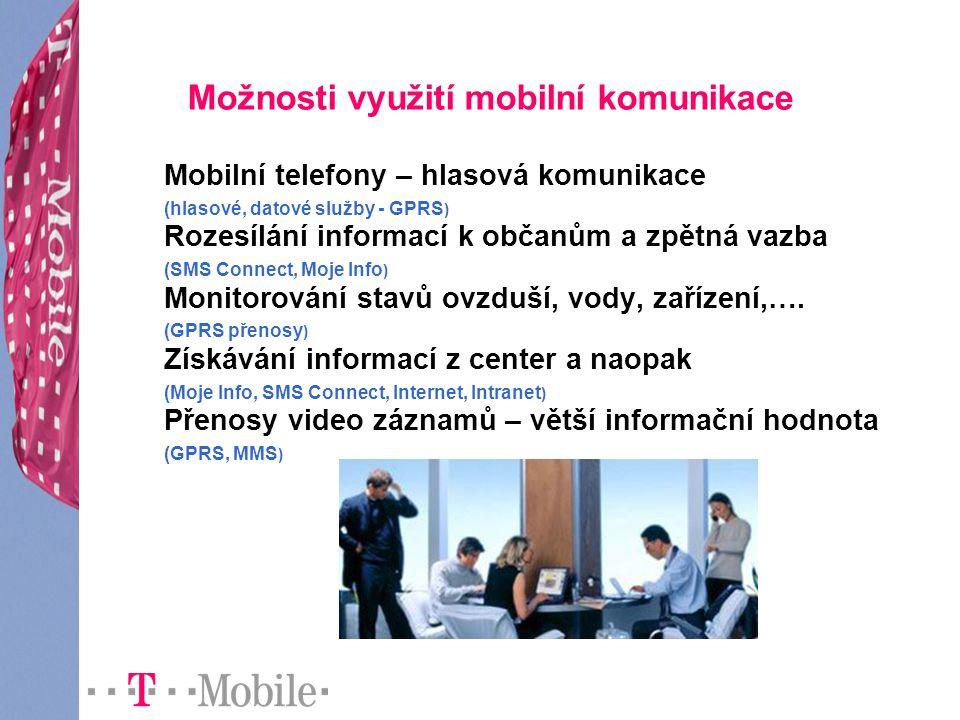 Možnosti využití mobilní komunikace Mobilní telefony – hlasová komunikace (hlasové, datové služby - GPRS ) Rozesílání informací k občanům a zpětná vazba (SMS Connect, Moje Info ) Monitorování stavů ovzduší, vody, zařízení,….