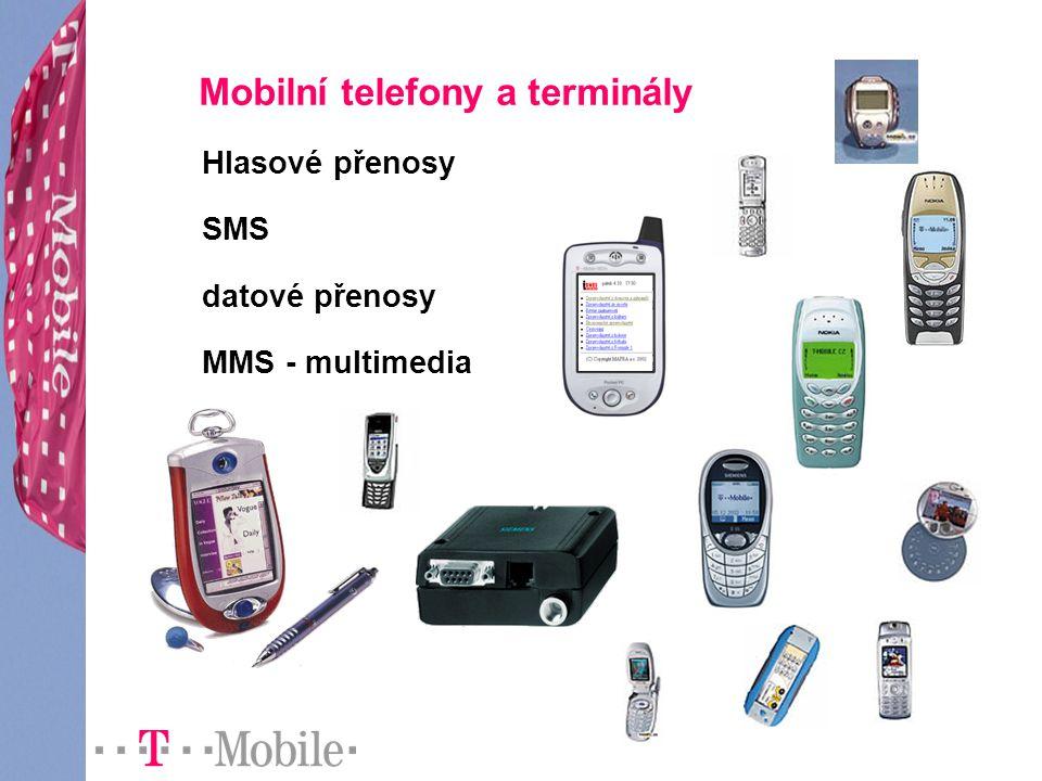 Mobilní telefony a terminály Hlasové přenosy SMS datové přenosy MMS - multimedia