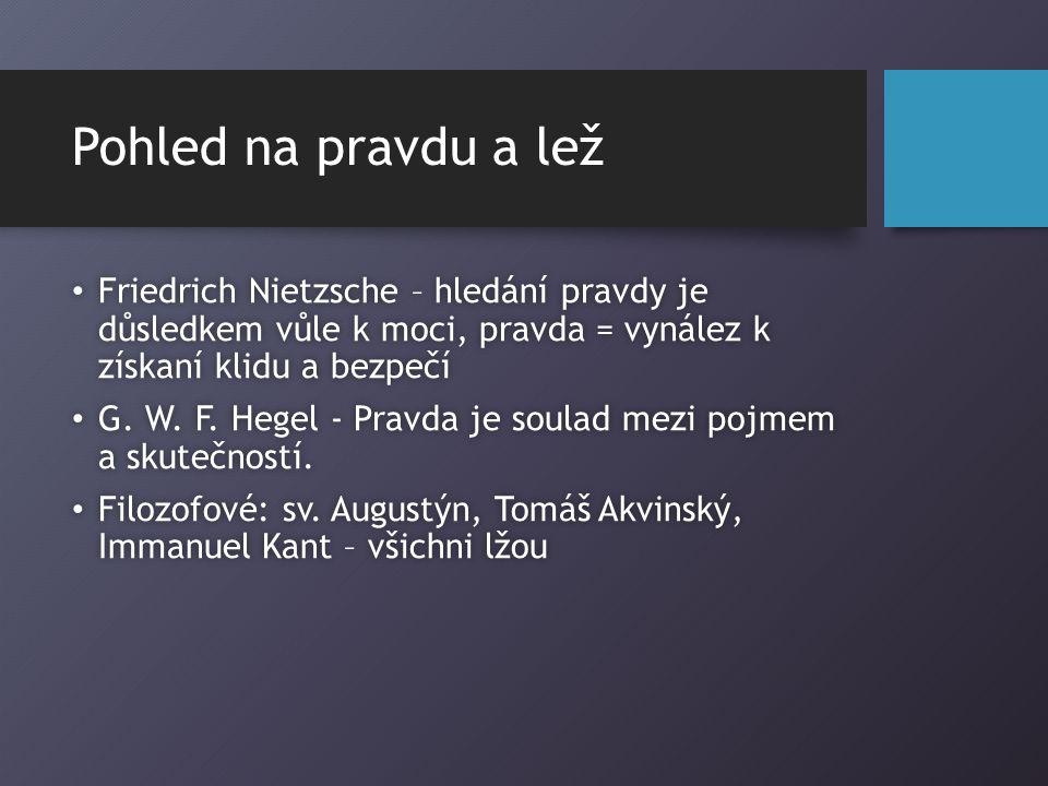 Pohled na pravdu a lež Friedrich Nietzsche – hledání pravdy je důsledkem vůle k moci, pravda = vynález k získaní klidu a bezpečí Friedrich Nietzsche – hledání pravdy je důsledkem vůle k moci, pravda = vynález k získaní klidu a bezpečí G.
