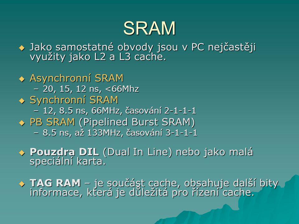 SRAM  Asynchronní SRAM –20, 15, 12 ns, <66Mhz  Synchronní SRAM –12, 8.5 ns, 66MHz, časování 2-1-1-1  PB SRAM (Pipelined Burst SRAM) –8.5 ns, až 133MHz, časování 3-1-1-1  Pouzdra DIL (Dual In Line) nebo jako malá speciální karta.