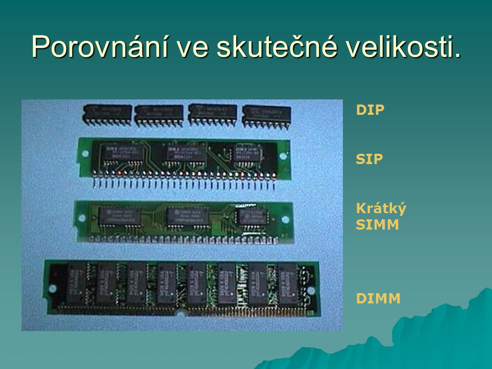 Porovnání ve skutečné velikosti. DIP SIP Krátký SIMM DIMM