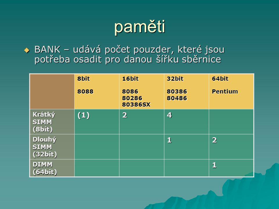 paměti  BANK – udává počet pouzder, které jsou potřeba osadit pro danou šířku sběrnice 8bit 8088 16bit 8086 80286 80386SX 32bit 80386 80486 64bit Pentium Krátký SIMM (8bit) (1)24 Dlouhý SIMM (32bit) 12 DIMM (64bit) 1