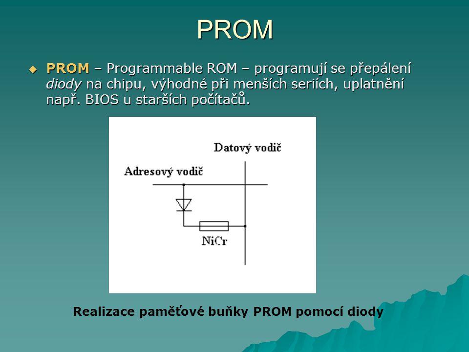PROM  PROM – Programmable ROM – programují se přepálení diody na chipu, výhodné při menších seriích, uplatnění např. BIOS u starších počítačů. Realiz
