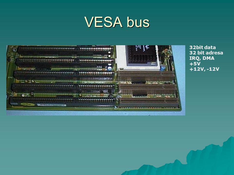 VESA bus 32bit data 32 bit adresa IRQ, DMA +5V +12V, -12V