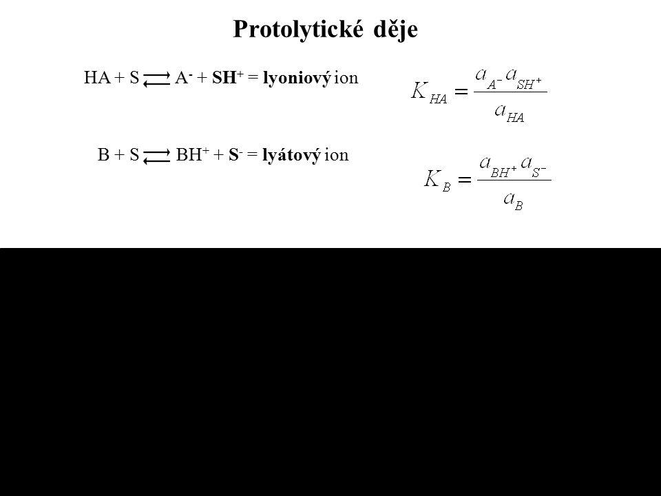 Vícesytné kyseliny a zásady disociační stupně: H 2 A + H 2 O HA - + H 3 O + HA - + H 2 O A 2- + H 3 O + celková dis.