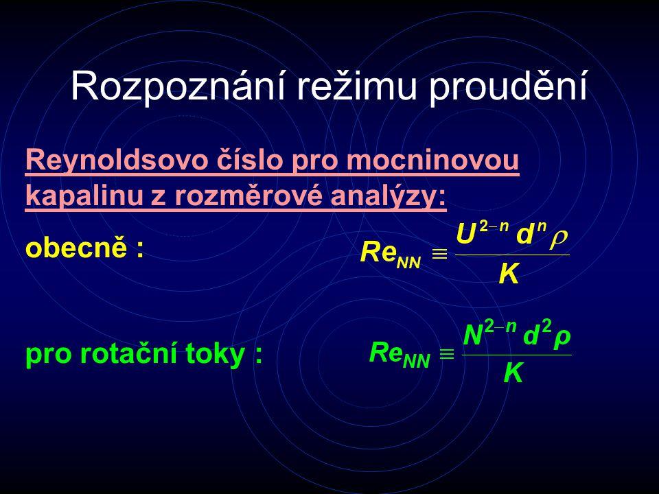 Rozpoznání režimu proudění Reynoldsovo číslo pro mocninovou kapalinu z rozměrové analýzy: obecně : pro rotační toky :