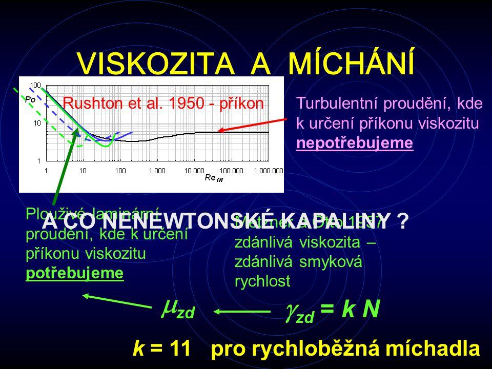 VISKOZITA A MÍCHÁNÍ Rushton et al. 1950 - příkon Plouživé laminární proudění, kde k určení příkonu viskozitu potřebujeme Turbulentní proudění, kde k u