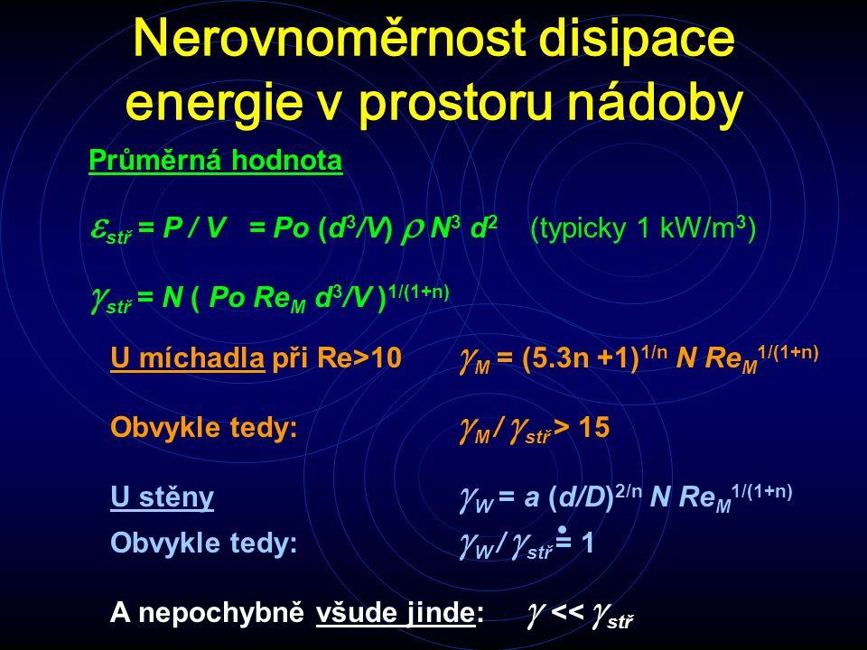 Nerovnoměrnost disipace energie v prostoru nádoby Průměrná hodnota  stř = P / V = Po (d 3 /V)  N 3 d 2 (typicky 1 kW/m 3 )  stř = N ( Po Re M d 3 /V ) 1/(1+n) U míchadla při Re>10  M = (5.3n +1) 1/n N Re M 1/(1+n) Obvykle tedy:  M /  stř > 15 U stěny  W = a (d/D) 2/n N Re M 1/(1+n) Obvykle tedy:  W /  stř = 1 A nepochybně všude jinde:  <<  stř