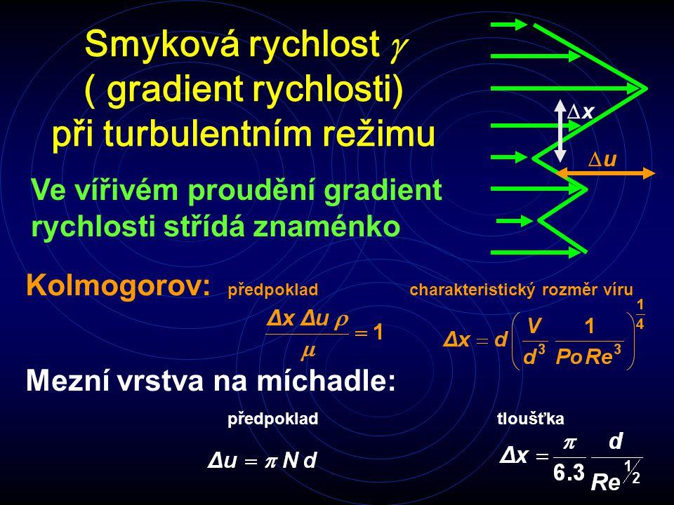 Smyková rychlost  ( gradient rychlosti) při turbulentním režimu Ve vířivém proudění gradient rychlosti střídá znaménko uu xx Kolmogorov: předpoklad charakteristický rozměr víru Mezní vrstva na míchadle: předpokladtloušťka