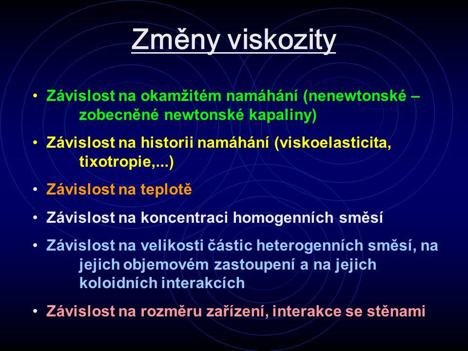 Změny viskozity Závislost na okamžitém namáhání (nenewtonské – zobecněné newtonské kapaliny) Závislost na historii namáhání (viskoelasticita, tixotropie,...) Závislost na teplotě Závislost na koncentraci homogenních směsí Závislost na velikosti částic heterogenních směsí, na jejich objemovém zastoupení a na jejich koloidních interakcích Závislost na rozměru zařízení, interakce se stěnami