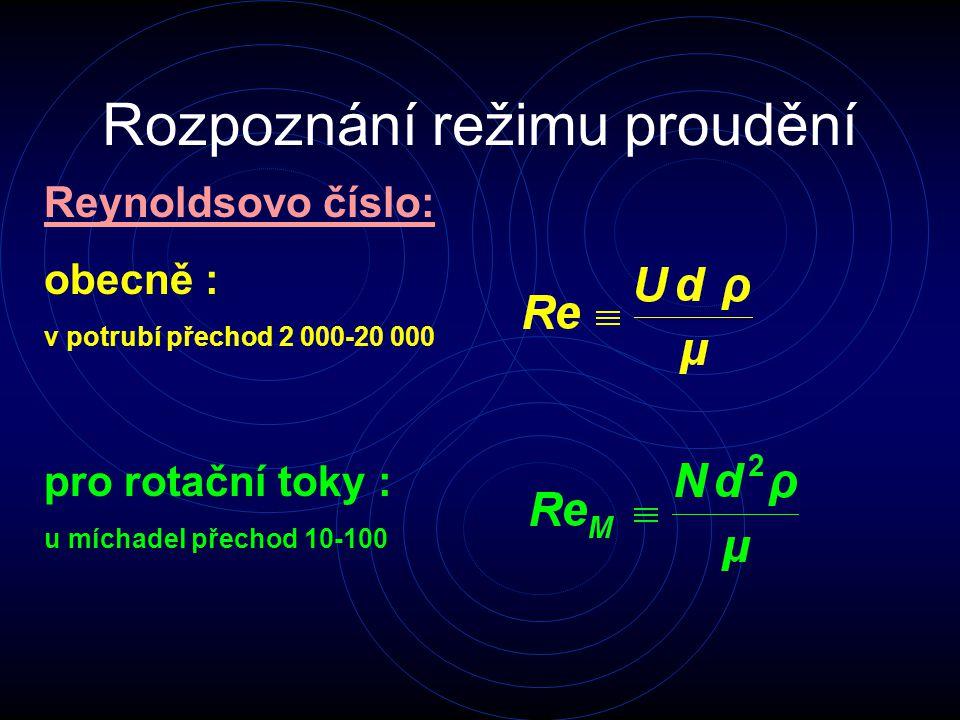 Rozpoznání režimu proudění Reynoldsovo číslo: obecně : v potrubí přechod 2 000-20 000 pro rotační toky : u míchadel přechod 10-100