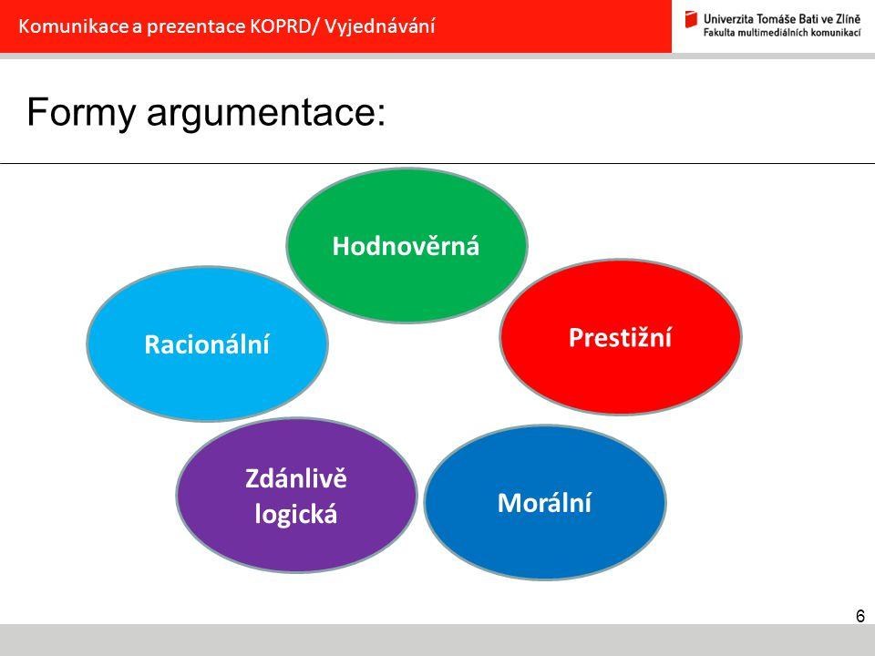 6 Formy argumentace: Komunikace a prezentace KOPRD/ Vyjednávání Racionální Zdánlivě logická Morální Prestižní Hodnověrná
