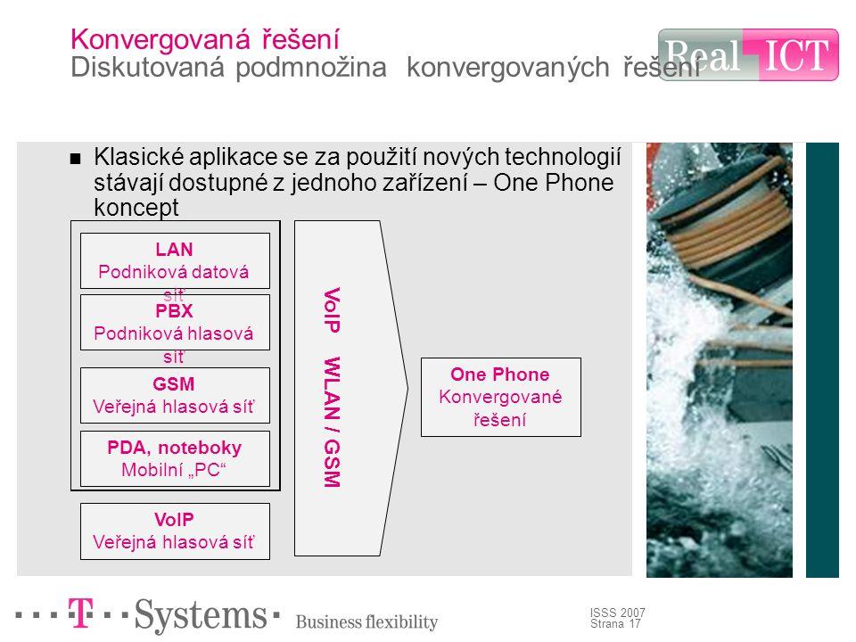 """Strana 17 ISSS 2007 Konvergovaná řešení Diskutovaná podmnožina konvergovaných řešení Klasické aplikace se za použití nových technologií stávají dostupné z jednoho zařízení – One Phone koncept LAN Podniková datová síť PBX Podniková hlasová síť GSM Veřejná hlasová síť PDA, noteboky Mobilní """"PC VoIP WLAN / GSM One Phone Konvergované řešení VoIP Veřejná hlasová síť"""