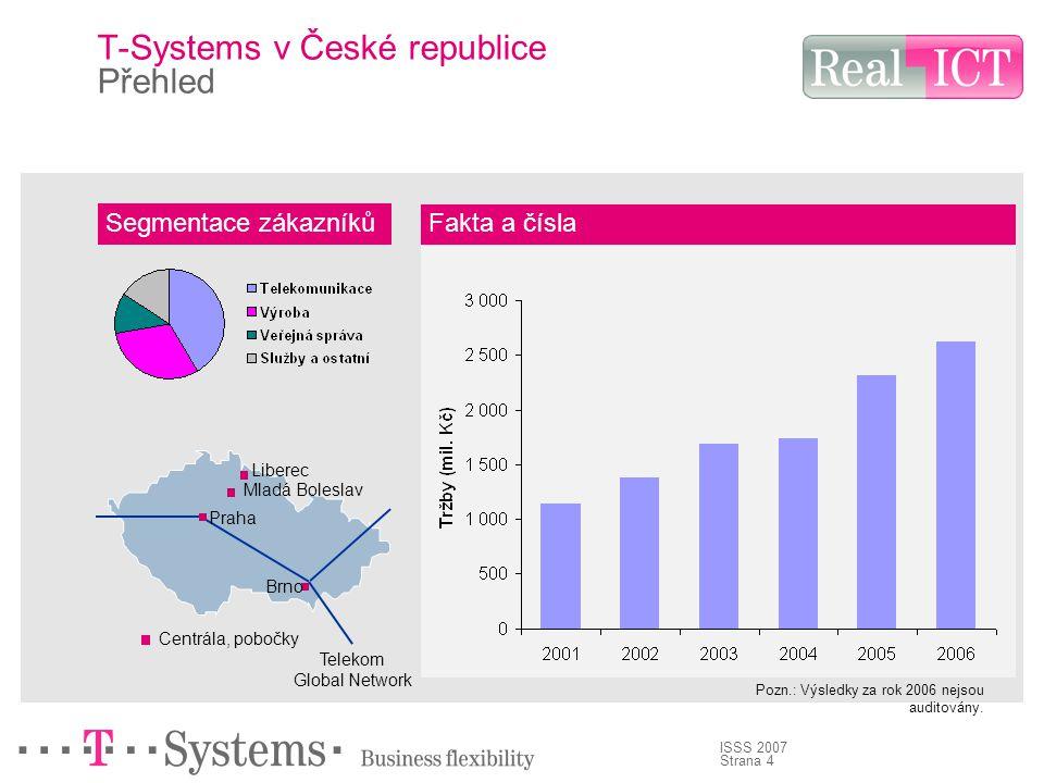 Strana 4 ISSS 2007 T-Systems v České republice Přehled Segmentace zákazníků Fakta a čísla Centrála, pobočky Praha Brno Liberec Mladá Boleslav Telekom Global Network Pozn.: Výsledky za rok 2006 nejsou auditovány.