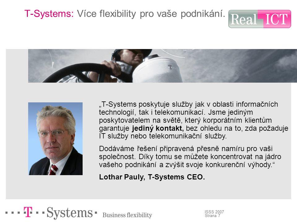 Strana 8 ISSS 2007 Vize T-Systems je postavena na skutečnosti, že ICT je na trhu vyžadováno už dnes.