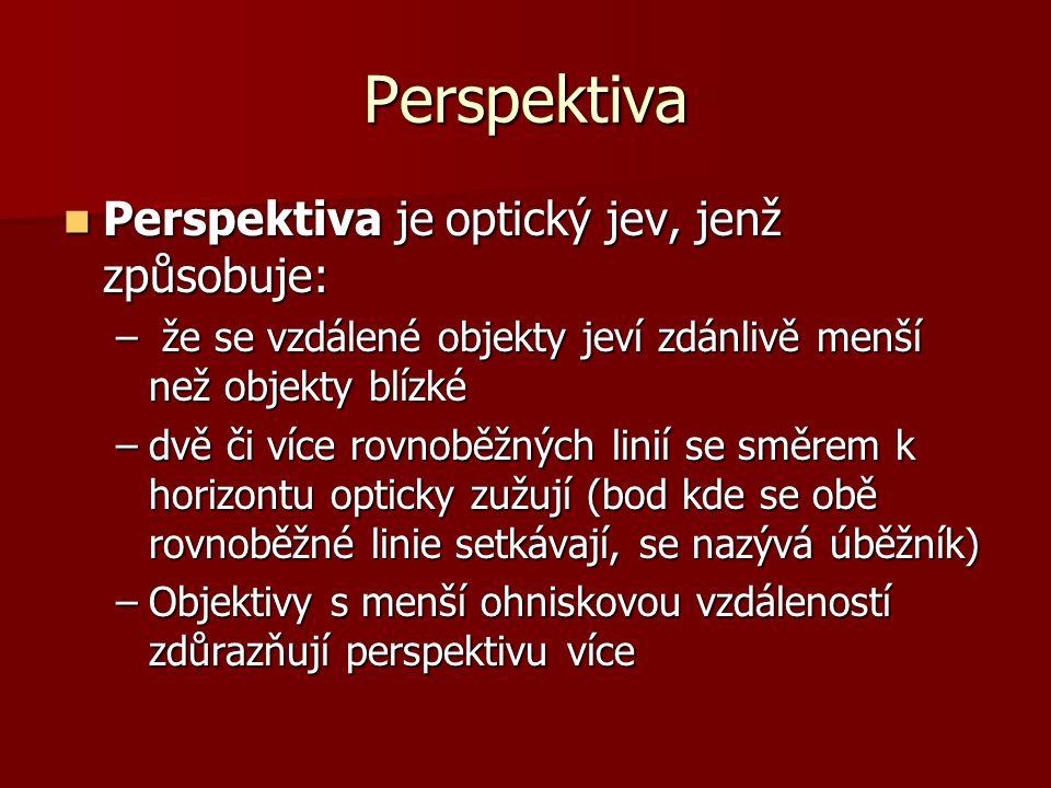 Perspektiva Perspektiva je optický jev, jenž způsobuje: Perspektiva je optický jev, jenž způsobuje: – že se vzdálené objekty jeví zdánlivě menší než objekty blízké –dvě či více rovnoběžných linií se směrem k horizontu opticky zužují (bod kde se obě rovnoběžné linie setkávají, se nazývá úběžník) –Objektivy s menší ohniskovou vzdáleností zdůrazňují perspektivu více