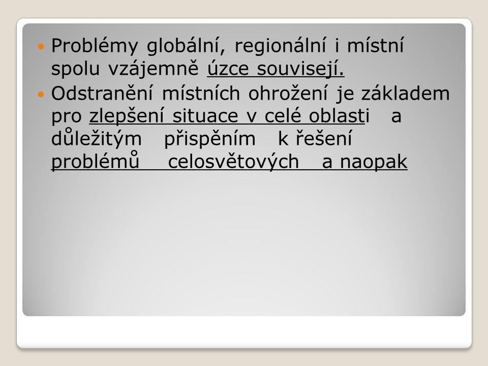 Regionální problémy ŽP Týkají se určitých území (např.