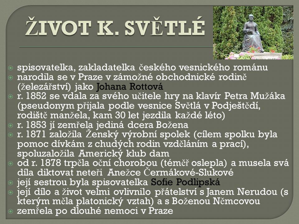  spisovatelka, zakladatelka č eského vesnického románu  narodila se v Praze v zámo ž né obchodnické rodin ě ( ž elezá ř ství) jako Johana Rottová  r.
