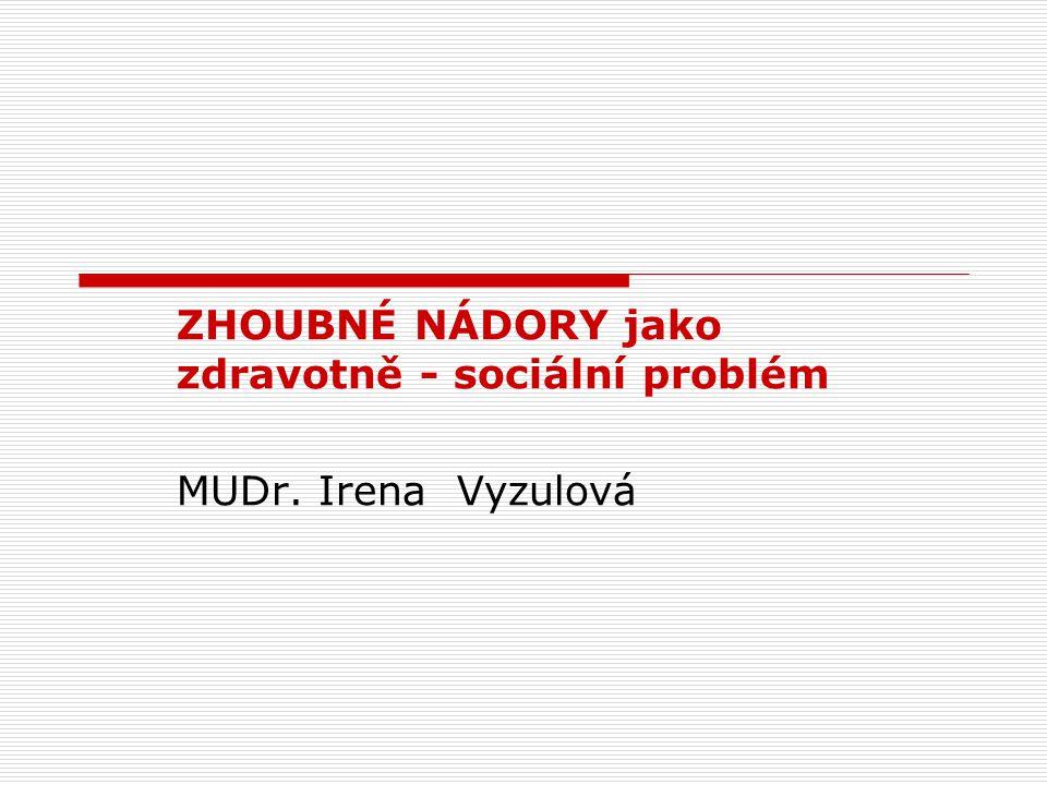 ZHOUBNÉ NÁDORY jako zdravotně - sociální problém MUDr. Irena Vyzulová