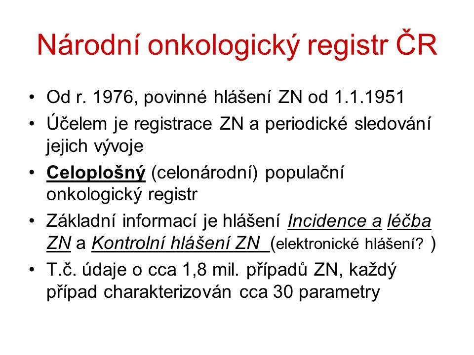 Národní onkologický registr ČR Od r. 1976, povinné hlášení ZN od 1.1.1951 Účelem je registrace ZN a periodické sledování jejich vývoje Celoplošný (cel