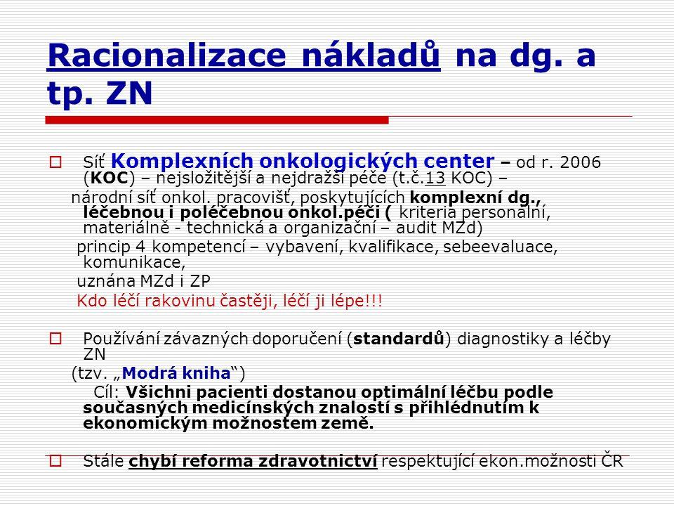 Racionalizace nákladů na dg. a tp. ZN  Síť Komplexních onkologických center – od r. 2006 (KOC) – nejsložitější a nejdražší péče (t.č.13 KOC) – národn