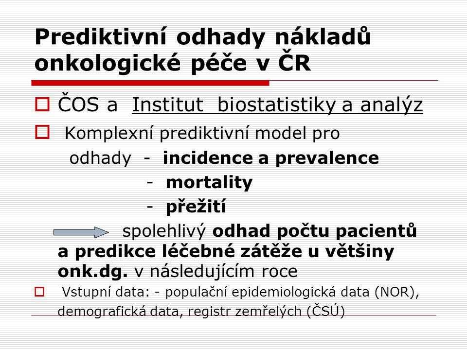 Prediktivní odhady nákladů onkologické péče v ČR  ČOS a Institut biostatistiky a analýz  Komplexní prediktivní model pro odhady - incidence a preval