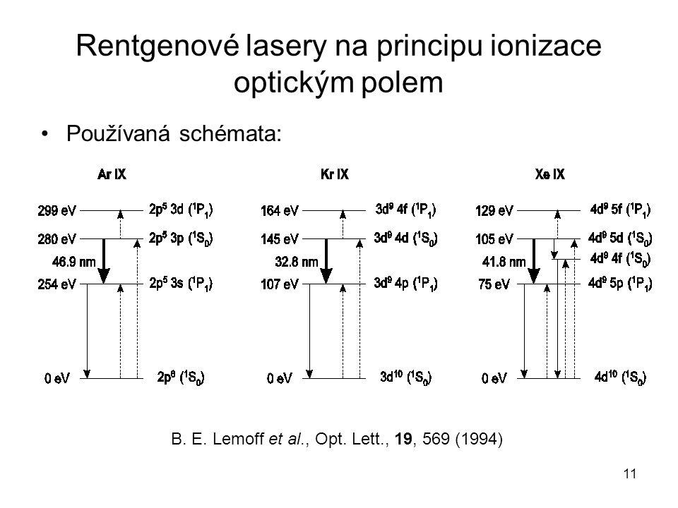Rentgenové lasery na principu ionizace optickým polem Používaná schémata: B. E. Lemoff et al., Opt. Lett., 19, 569 (1994) 11