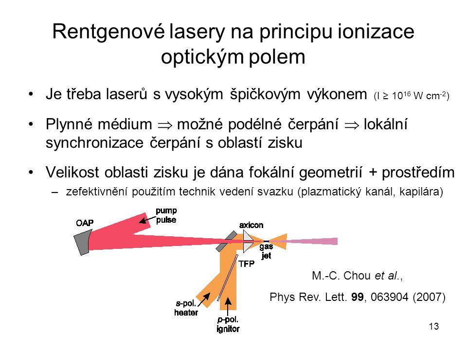 Rentgenové lasery na principu ionizace optickým polem Je třeba laserů s vysokým špičkovým výkonem (I ≥ 10 16 W cm -2 ) Plynné médium  možné podélné č