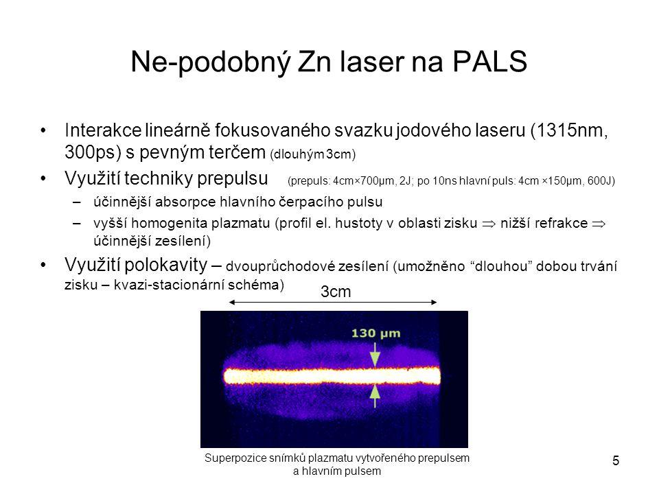 Ne-podobný Zn laser na PALS Interakce lineárně fokusovaného svazku jodového laseru (1315nm, 300ps) s pevným terčem (dlouhým 3cm) Využití techniky prep