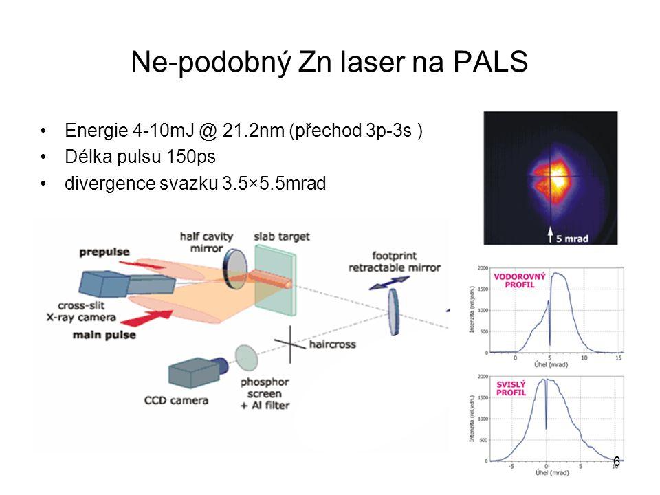 Ne-podobný Zn laser na PALS Energie 4-10mJ @ 21.2nm (přechod 3p-3s ) Délka pulsu 150ps divergence svazku 3.5×5.5mrad 6