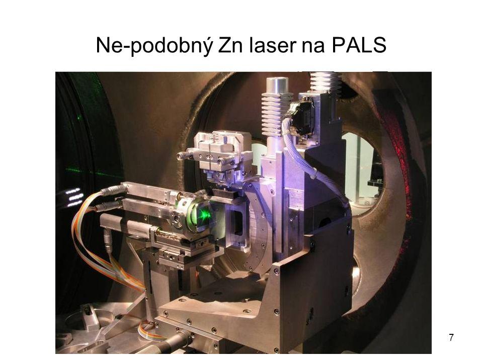 Ne-podobný Zn laser na PALS 7