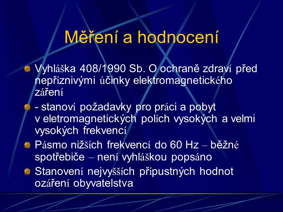 Měření a hodnocení Vyhl áš ka 408/1990 Sb.