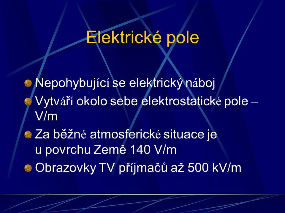 Elektrické pole Nepohybuj í c í se elektrický n á boj Vytv á ř í okolo sebe elektrostatick é pole – V/m Za běžn é atmosferick é situace je u povrchu Země 140 V/m Obrazovky TV př í jmačů až 500 kV/m
