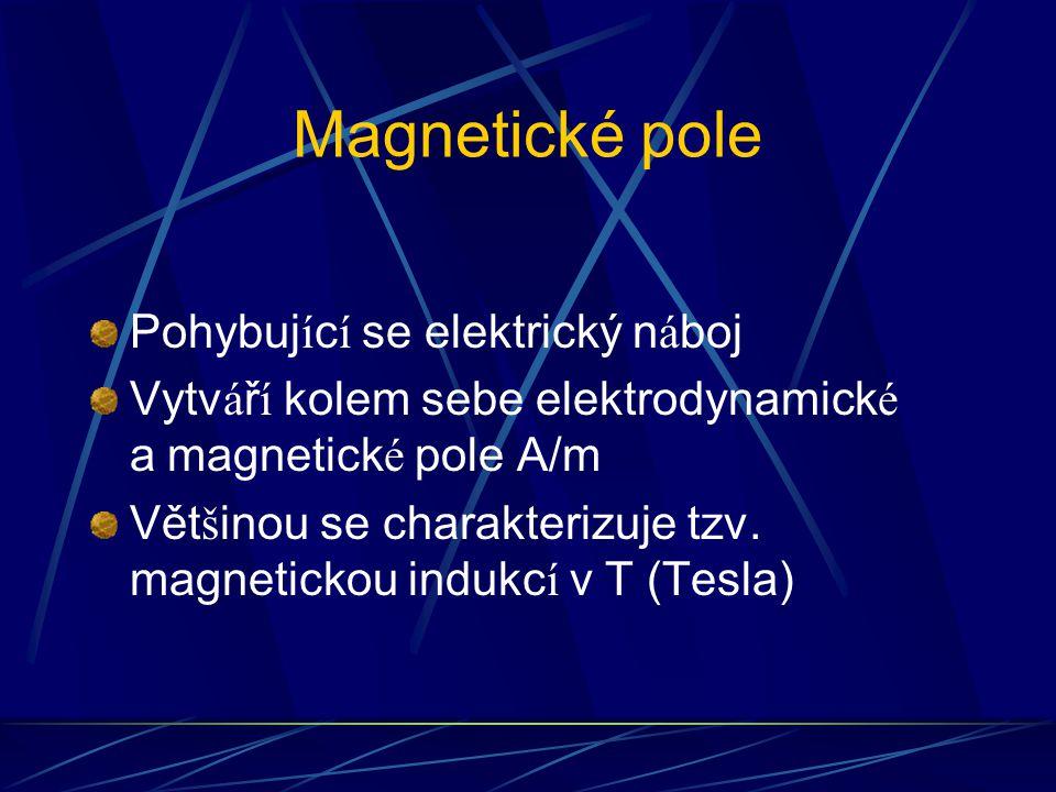Magnetické pole Pohybuj í c í se elektrický n á boj Vytv á ř í kolem sebe elektrodynamick é a magnetick é pole A/m Vět š inou se charakterizuje tzv. m