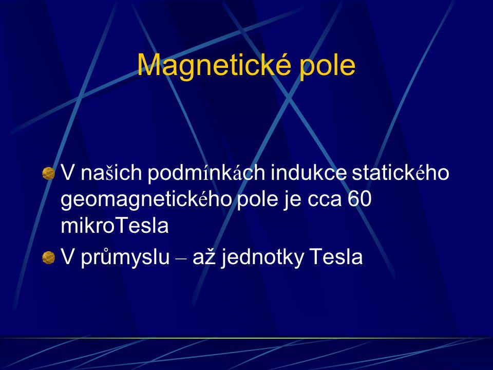 Magnetické pole V na š ich podm í nk á ch indukce statick é ho geomagnetick é ho pole je cca 60 mikroTesla V průmyslu – až jednotky Tesla