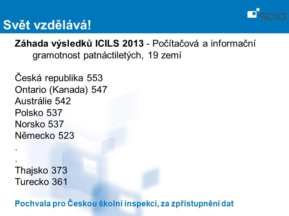 Záhada výsledků ICILS 2013 - Počítačová a informační gramotnost patnáctiletých, 19 zemí Česká republika 553 Ontario (Kanada) 547 Austrálie 542 Polsko 537 Norsko 537 Německo 523.