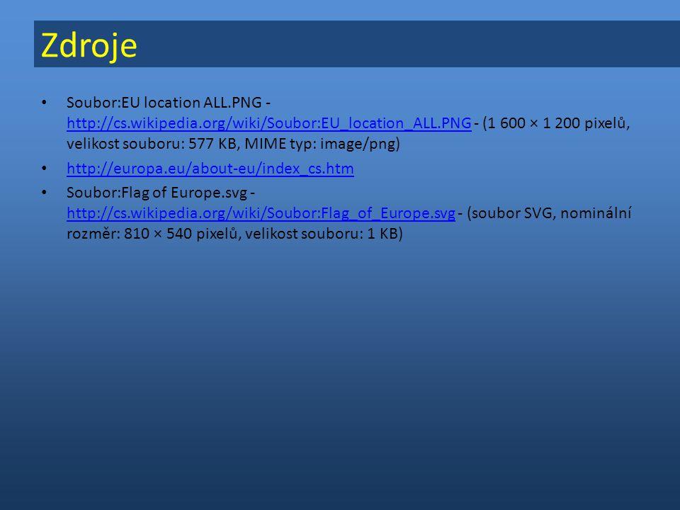 Soubor:EU location ALL.PNG - http://cs.wikipedia.org/wiki/Soubor:EU_location_ALL.PNG - (1 600 × 1 200 pixelů, velikost souboru: 577 KB, MIME typ: image/png) http://cs.wikipedia.org/wiki/Soubor:EU_location_ALL.PNG http://europa.eu/about-eu/index_cs.htm Soubor:Flag of Europe.svg - http://cs.wikipedia.org/wiki/Soubor:Flag_of_Europe.svg - (soubor SVG, nominální rozměr: 810 × 540 pixelů, velikost souboru: 1 KB) http://cs.wikipedia.org/wiki/Soubor:Flag_of_Europe.svg Zdroje