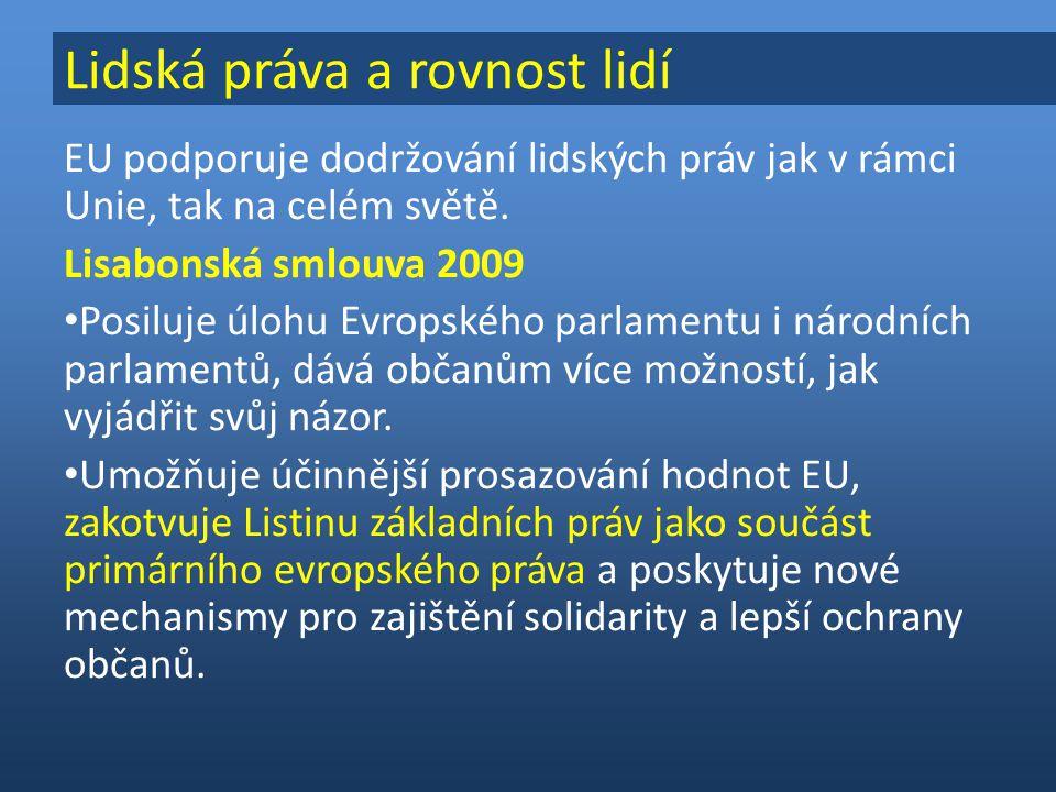 EU podporuje dodržování lidských práv jak v rámci Unie, tak na celém světě.