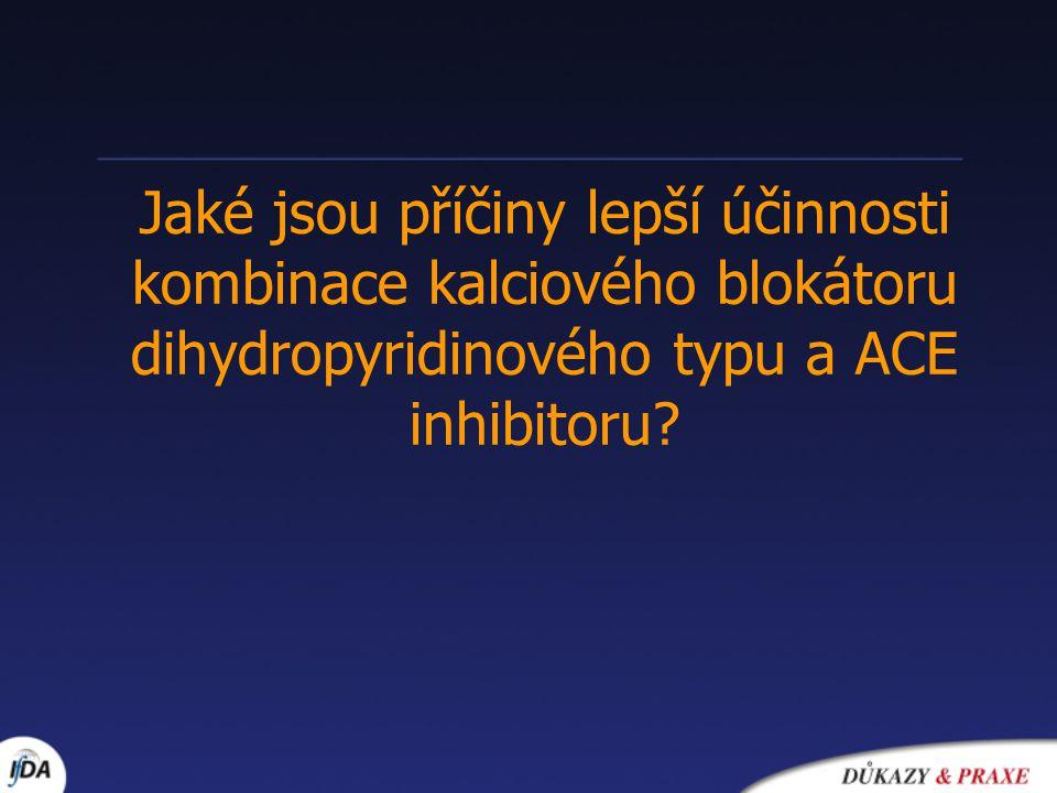 Jaké jsou příčiny lepší účinnosti kombinace kalciového blokátoru dihydropyridinového typu a ACE inhibitoru?