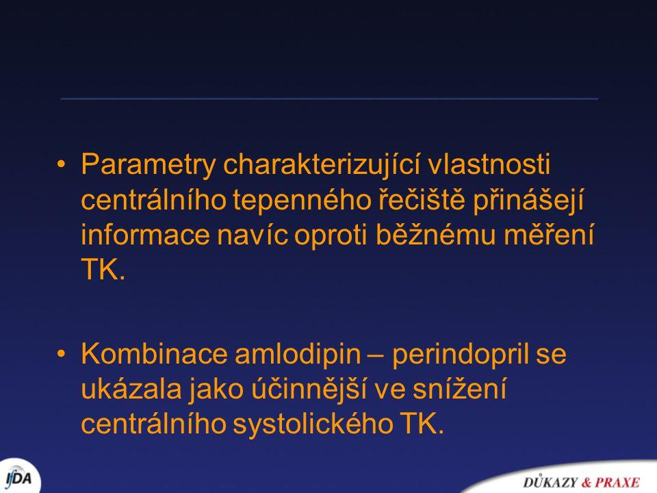 Parametry charakterizující vlastnosti centrálního tepenného řečiště přinášejí informace navíc oproti běžnému měření TK. Kombinace amlodipin – perindop