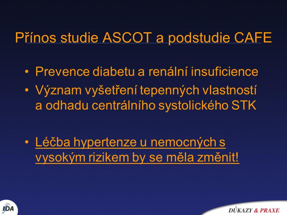 Přínos studie ASCOT a podstudie CAFE Prevence diabetu a renální insuficience Význam vyšetření tepenných vlastností a odhadu centrálního systolického S