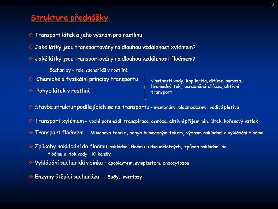 Struktura přednášky  Transport látek a jeho význam pro rostlinu  Jaké látky jsou transportovány na dlouhou vzdálenost xylémem?  Jaké látky jsou tra