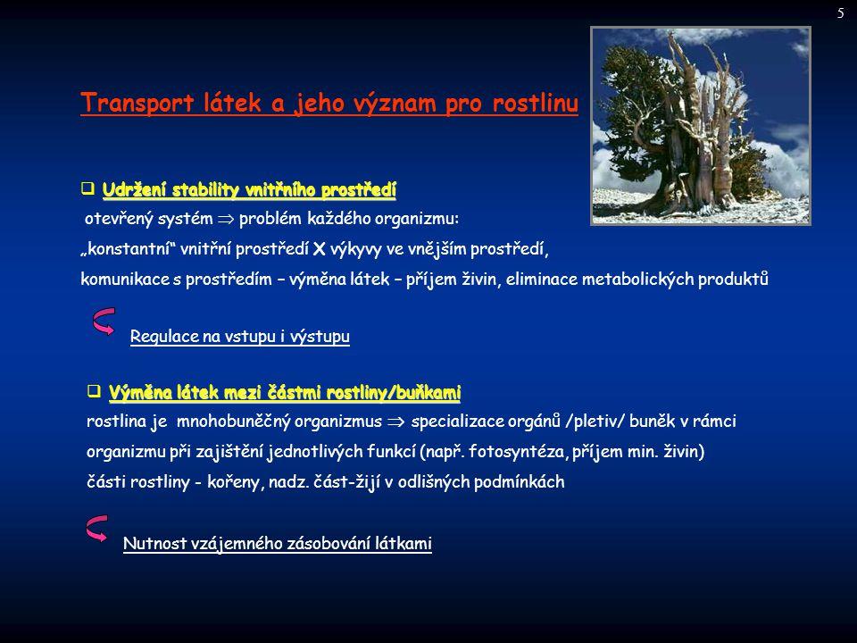 Transport látek a jeho význam pro rostlinu Udržení stability vnitřního prostředí  Udržení stability vnitřního prostředí otevřený systém  problém kaž