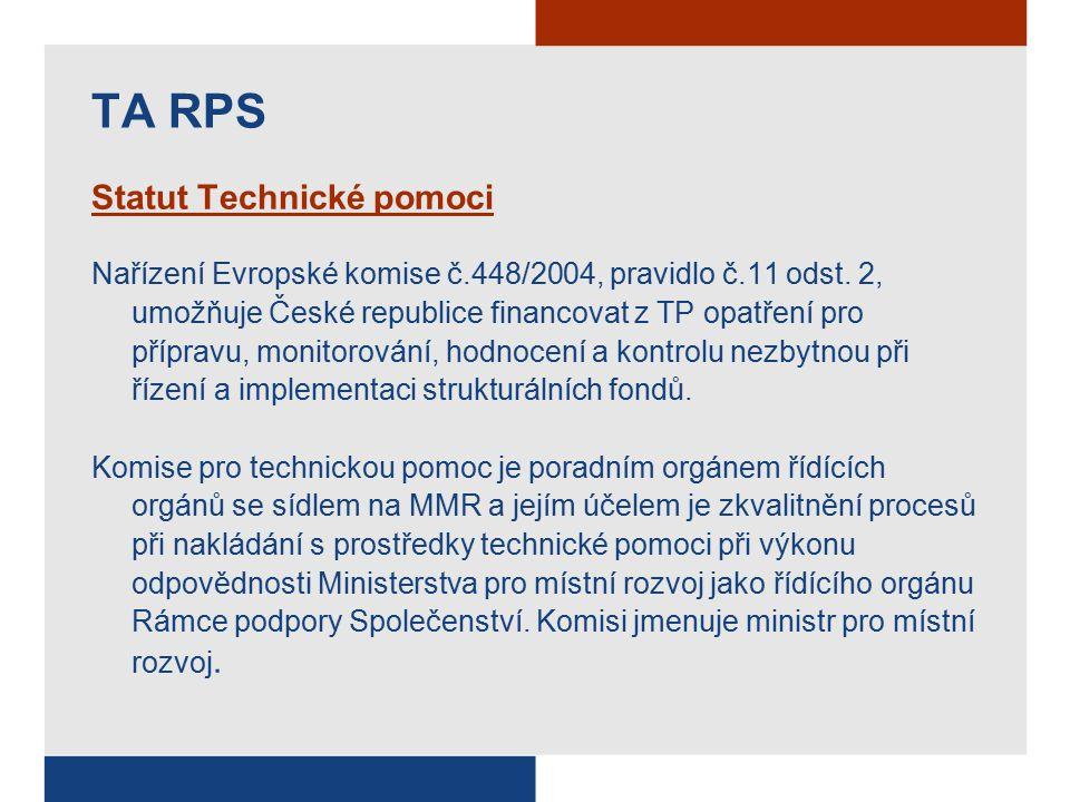 Statut Technické pomoci Nařízení Evropské komise č.448/2004, pravidlo č.11 odst.