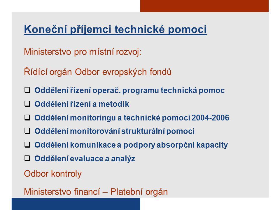 Koneční příjemci technické pomoci Ministerstvo pro místní rozvoj: Řídící orgán Odbor evropských fondů  Oddělení řízení operač.