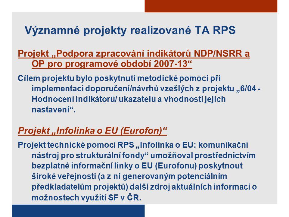 """Významné projekty realizované TA RPS Projekt """"Podpora zpracování indikátorů NDP/NSRR a OP pro programové období 2007-13 Cílem projektu bylo poskytnutí metodické pomoci při implementaci doporučení/návrhů vzešlých z projektu """"6/04 - Hodnocení indikátorů/ ukazatelů a vhodnosti jejich nastavení ."""